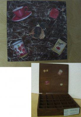 <p>Uma caixa de café reciclada, decorada com a técnica <em>decoupage</em>, aplicação de papel de arroz e escurecida com velaturas.</p><p>Executado por:<br />Alunos infantis com deficiência, do atelier.<br /><strong>Gestos de Boa Vontade - Parede</strong></p><p><br />53.anapaula@gmail.com </p><p>&nbsp;</p>